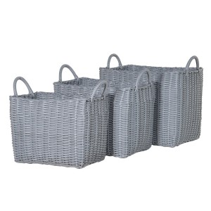 Set of 3 Woven Plastic Baskets