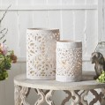 Medium Powder Stone Lace Hurricane Lantern