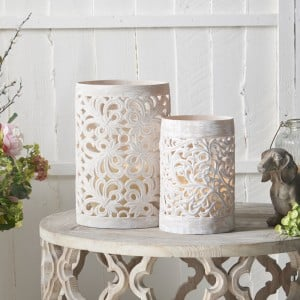 Pair of Powder Stone Lace Hurricane Lanterns