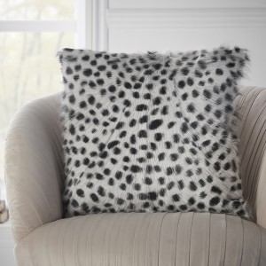 Black and White Large Leopard Print Fur Cushion Cover