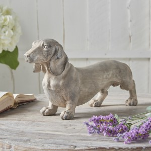 Grey Wooden Dachshund