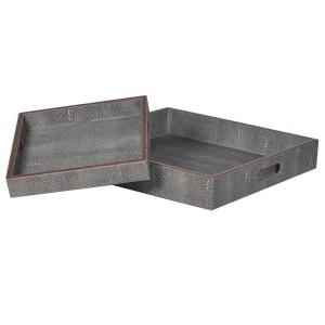 Set of Two Faux Shagreen Leather Tray