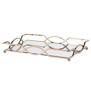 Golden Shaped Mirror Tray