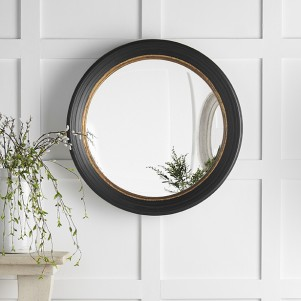 Black and Gold Frame Convex Mirror