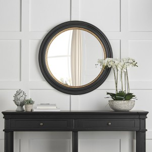 Black and Gold Round Convex Mirror