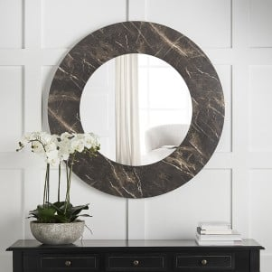Black Faux Marble Mirror