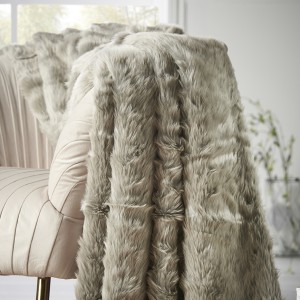 Shimmery Silver Faux Fur Throw