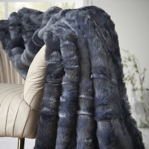 Blue Luxury Faux Fur Throw