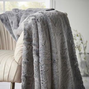 Dark Grey Faux Fur Throw
