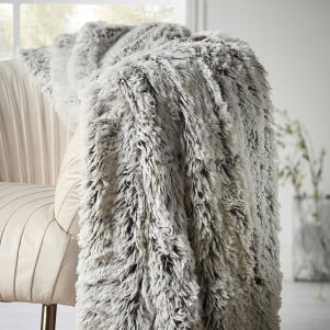 Grey and White Faux Fur Throw