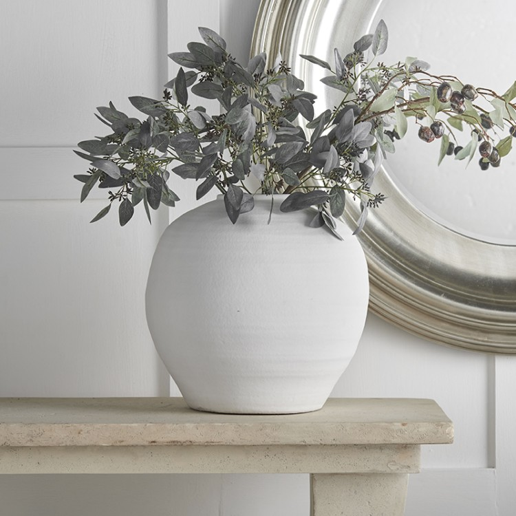 White Ball Ceramic Vase