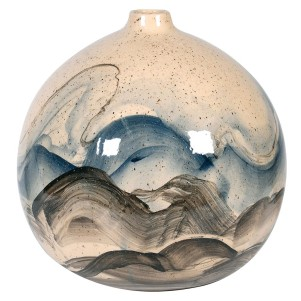 Hand Painted Wave Ball Vase