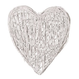Large White Willow Wall Hanging Heart