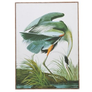 Large Framed  Green Tropical Crane Picture