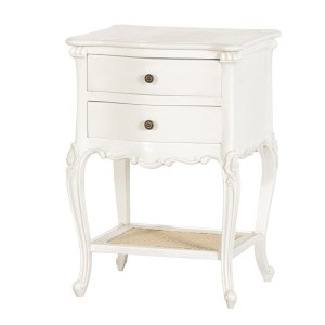Chateau Bedside Table with Rattan Shelf