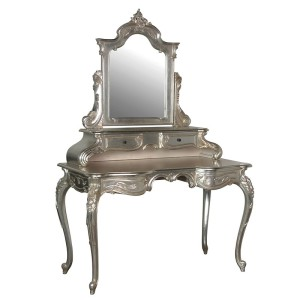 Silver Leaf Dressing Table with Mirror