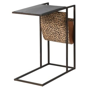 Leopard Print and Black Marble Side Table