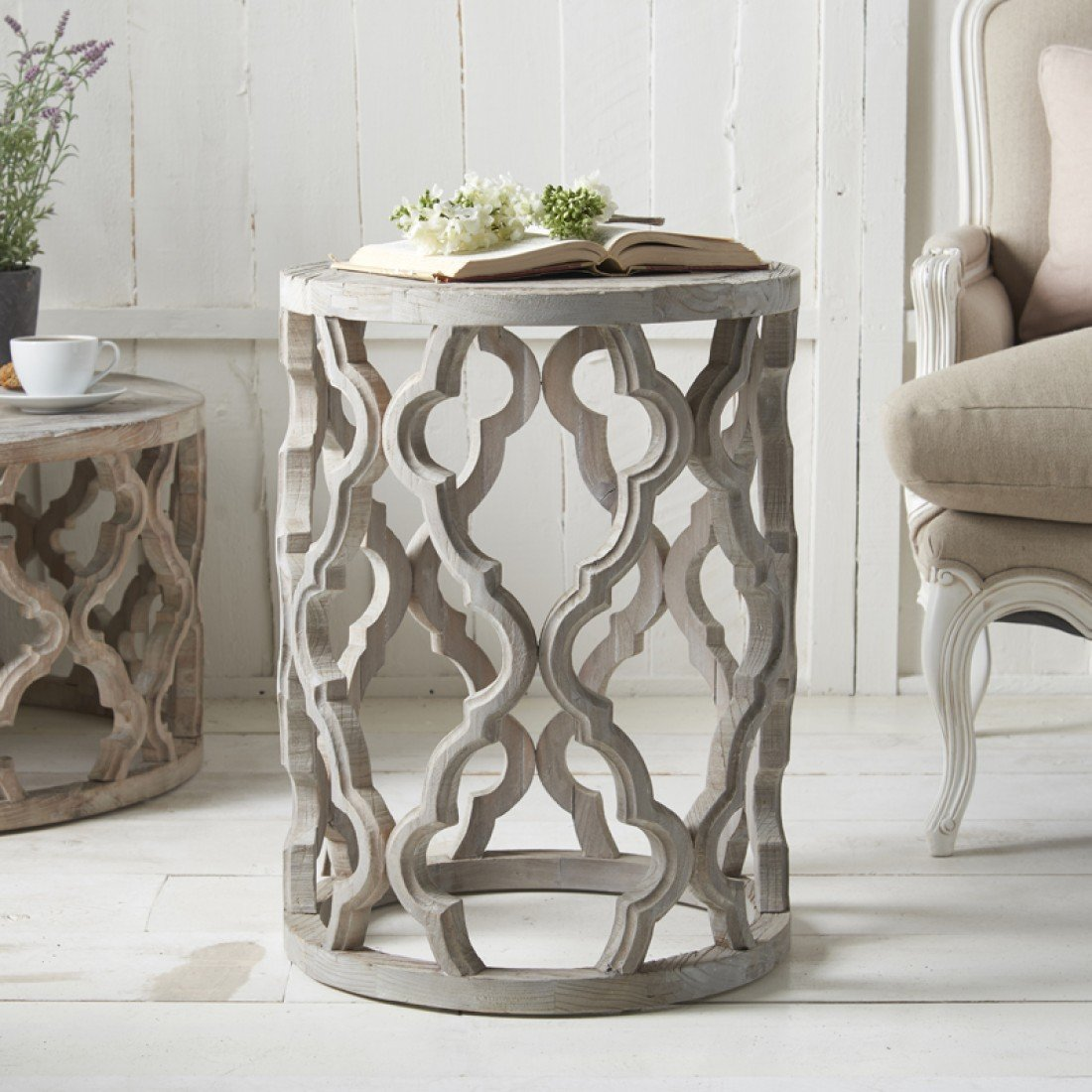 Fretwork Coffee Table.Round Fretwork End Table Side Tables
