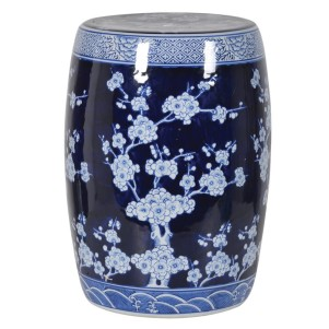 Oriental Style Blue and White Blossom Ceramic Stool