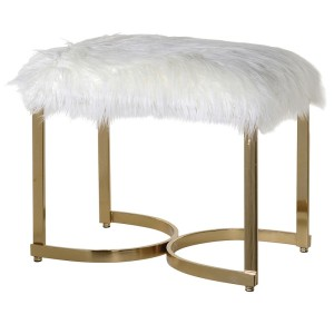 Faux Fur Gold Curved Leg Stool