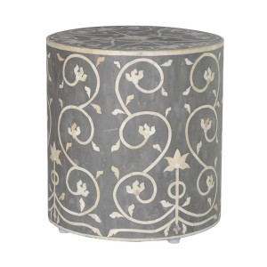 Floral Grey and White Bone Inlay Stool