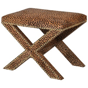Leopard Print Cross Stool