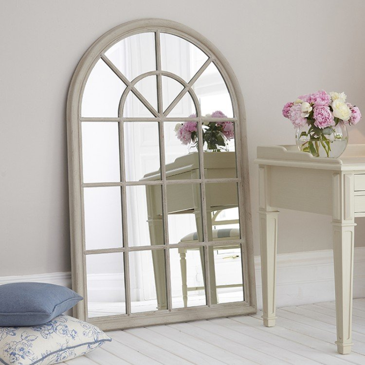 Grey Distressed Wooden Arched Window Mirror