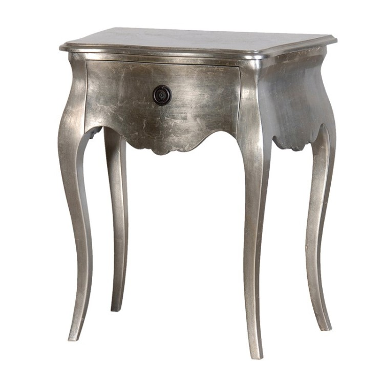 Silver Leaf Chunky 1 Drawer Bedside Table