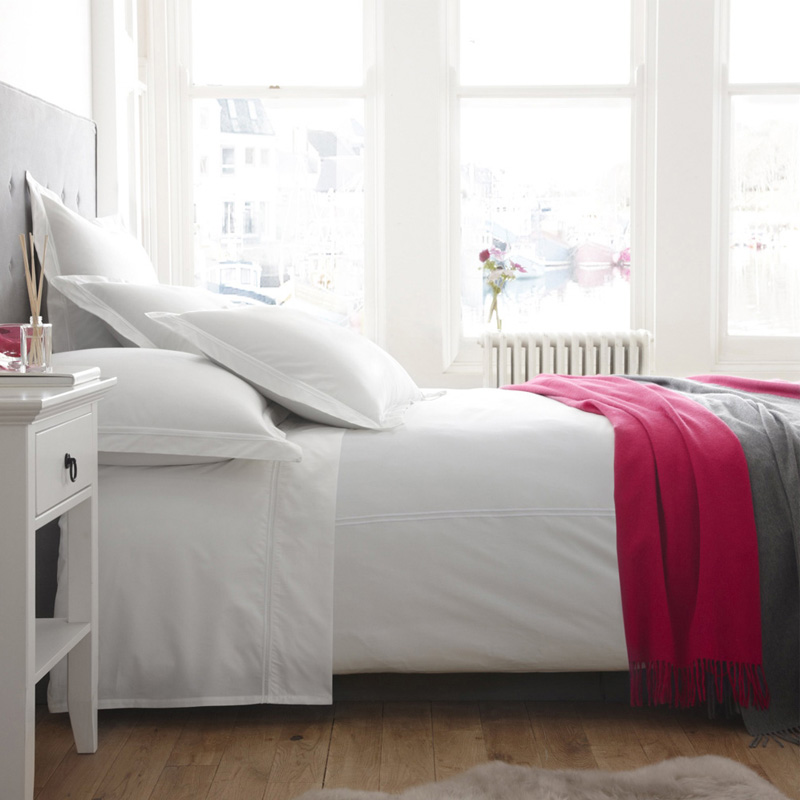 Lille White Organic Cotton Flat Sheet